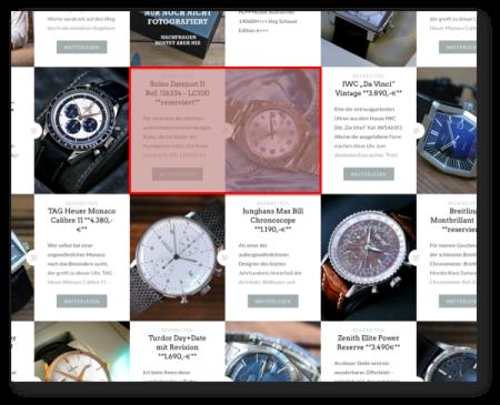 Ihre Werbefläche im Umfeld der angebotenen Uhren