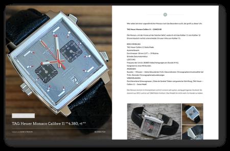 Sie präsentieren Ihr Produkt mit eigener Unterseite, ähnlich der angebotenen Uhren: Bild, Text, Link.